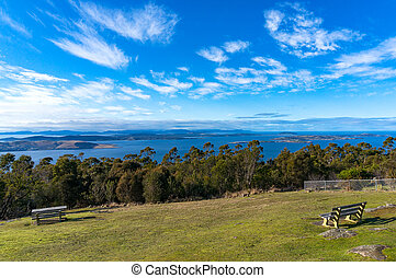 Panoramic landscape of beautiful Tasmanian landscape -...