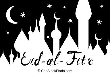 Card with black moon on white for greeting with finishing of...