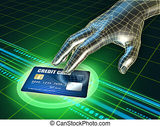 Credit card stealing - Hackers hand trying to steal a credit...