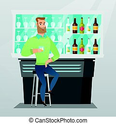 Caucasian man sitting at the bar counter. Young man sitting...