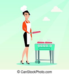Woman cooking steak on barbecue grill. - Caucasian woman...