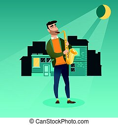 Musician playing the saxophone vector illustration