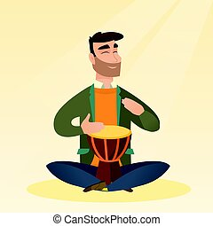 Man playing the ethnic drum vector illustration. - Man with...