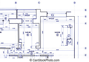 construction plan, engineering blueprints, part of architectural project