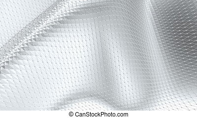 Abstract clean black and white low poly waving 3D surface as...