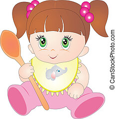 Baby vector - Little girl eating baby food with spoon....