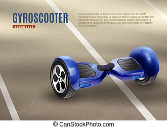Gyro Scooter Segway Road Background Poster - Realistic...