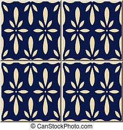 Ceramic tile pattern navy blue Japanese flower chintz
