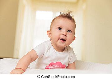 cima, boca, olha, bebê, menina, abertos, espantado
