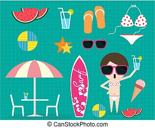 Summer time item collection sunglass bikini ice cream sandal...