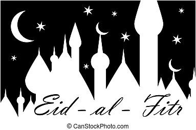 Card with black moon on white for greeting