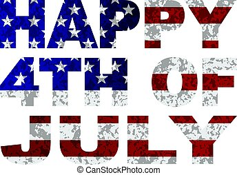 Happy 4th of July Flag Text Outline Txture Illustration
