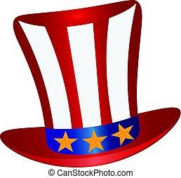 Fourth of July Hat Gold Stars Illustration