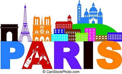 Paris Skyline Text Champagne Color Illustration - Paris...