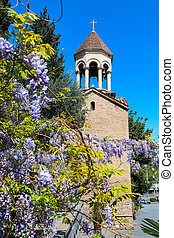 Bell tower of Sioni Cathedral Church in Tbilisi, Georgia and...