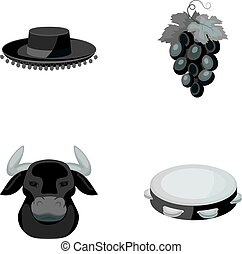 The hat of the todeador, the matador, a bunch of grapes with fists, a bull for the Spanish bullfight, a tambourine.