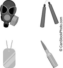 Gas mask, nunchak, ammunition, soldier's token. Weapons set collection icons in monochrome style vector symbol stock illustration web.