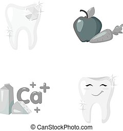 A tooth with brilliant sparkling, an apple with carrots useful for teeth, milk in a box, cheese and a sign of calcium, a smiling tooth. Dental care set collection icons in monochrome style vector symbol stock illustration web.