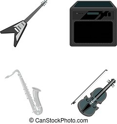 Electric guitar, loudspeaker, saxophone, violin.Music instruments set collection icons in monochrome style vector symbol stock illustration web.