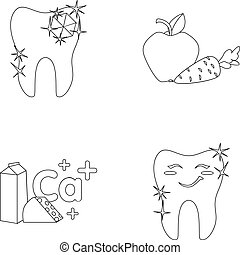 A tooth with brilliant sparkling, an apple with carrots useful for teeth, milk in a box, cheese and a sign of calcium, a smiling tooth. Dental care set collection icons in outline style vector symbol stock illustration web.