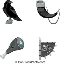Sitting crow, horn with drink, ham, victory flag. Vikings set collection icons in monochrome style vector symbol stock illustration web.