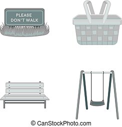 Lawn with a sign, a basket with food, a bench, a swing. Park set collection icons in monochrome style vector symbol stock illustration web.