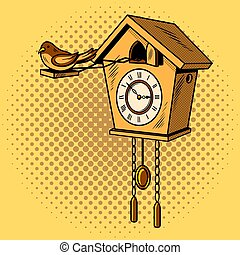Cuckoo clock comic book style vector - Cuckoo clock comic...