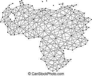Map of Venezuela from polygonal black lines and dots of...