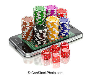 Online gambling concept with dice and roulette chips on the...