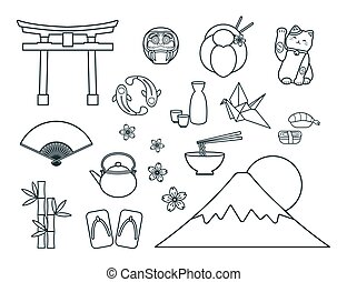Set of Japanese symbols