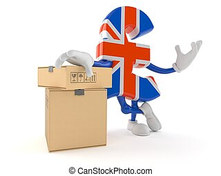 Pound character with stack of boxes