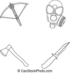 Crossbow, gas mask, ax, combat knife.