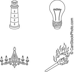 A lighthouse, an incandescent lamp, a chandelier with...