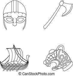 Viking helmet, battle ax, rook on oars with shields, dragon,...