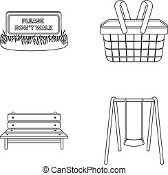 Lawn with a sign, a basket with food, a bench, a swing. Park set collection icons in outline style vector symbol stock illustration web.