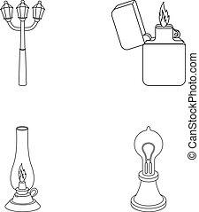 Street lamp, lighter, kerosene lamp, lamp of Edison.Light...