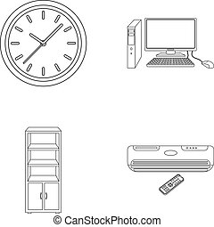 Clock with arrows, a computer with accessories for work in...