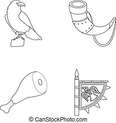 Sitting crow, horn with drink, ham, victory flag. Vikings set collection icons in outline style vector symbol stock illustration web.