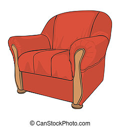 isolated colored armchair - fully editable vector...