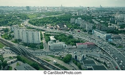 Moscow cityscape and congested road traffic in the rush hour