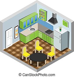 Vector isometric set of kitchen furniture.