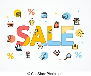 Sale Concept Icon Flat and Paper Art. Vector