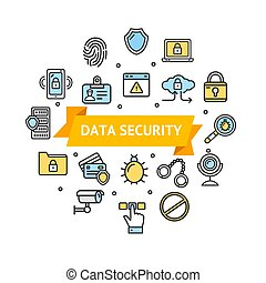 Data Security and Safe Round Design Template Icon Emblem....
