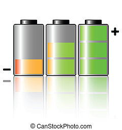 Battery - Illustration of three batteries on a white...