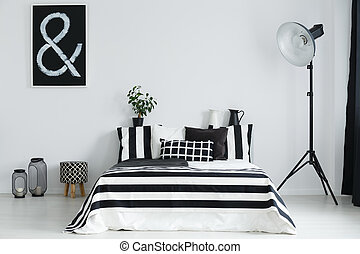 Bedroom with bed and decorations - Black and white bedroom...
