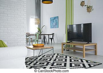 White tv living room