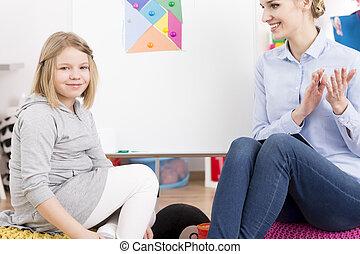 poco, terapeuta, discorso, sorridente, ragazza
