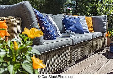 Gig garden sofa with pillows - Gig garden sofa with many...