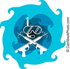 Spearfishing silhouette vector