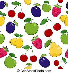 Seamless Pattern of Ripe Fruits and Berries - Fruit Berry...